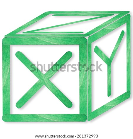 X, Y, Z, Block build from green wood separated on isolated white