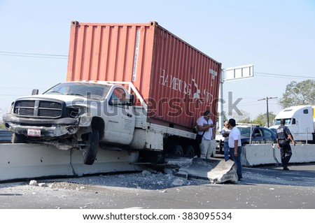 XALAPA, MEXICO - JANUARY 20,2015: A truck going at hight speed on road 180 went out of control and climbed the middle wall