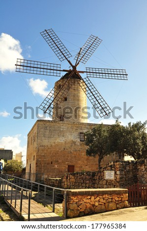Xarolla windmil, island Malta - stock photo