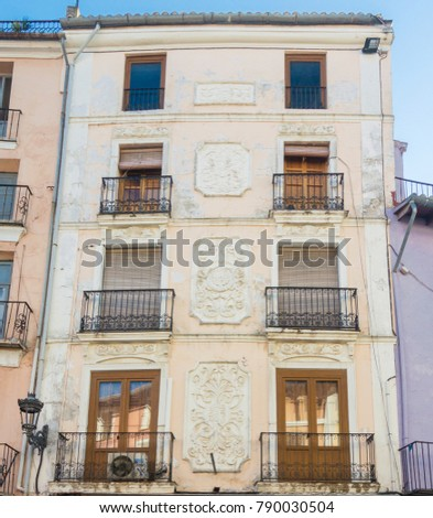XATIVA, VALENCIA, SPAIN, JANUARY 2017 - Ornate building facade in the ancient city of Xativa (Jativa), Valencia, Spain