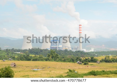 Xayabouly province ,Laos- 15 October, 2015:  Hongsa  lignite power station and rice  field on 15 October, 2015 in Xayabouly province , Laos, Asia