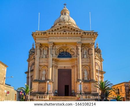 Xewkija church dedicated to St John the Baptist, in Gozo, Malta. - stock photo