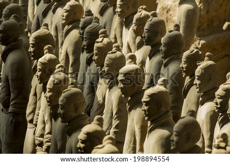Xi'an, China : 24 Mar 2014 Terracotta Army is a collection of terracotta sculptures depicting the armies of Qin Shi Huang, the first Emperor of China. 210-209 BC - stock photo