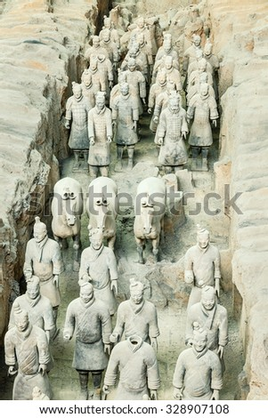 Xi 'an, China - on September 26, 2015: famous qin shihuang terracotta warriors, it is the eighth wonder of the world, qin shihuang terracotta army is one of the world cultural heritage.