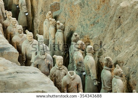 Xi 'an, China - September 26, 2015: the world most famous statue of the Terra Cotta Warriors??it is the eighth wonder of the world, qin shihuang terracotta army is one of the world cultural heritage.