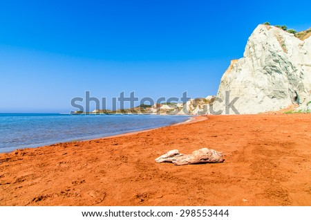 Xi Beach, Kefalonia Island, Greece. Beautiful view of Xi Beach, a beach with red sand in Kefalonia, Ionian Sea. - stock photo