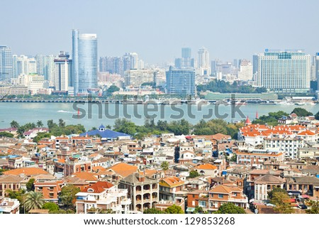 Xiamen aerial view from Gulang-yu island, China - stock photo