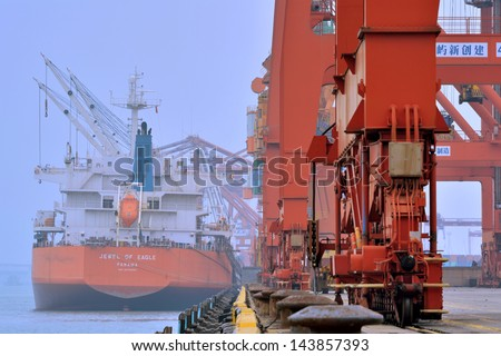 XIAMEN - APRIL 21: Dock operation area and equipment in Xiamen, Fujian, South of China in April 21, 2013. Xiamen is a developing harbor city located in South-East of China.