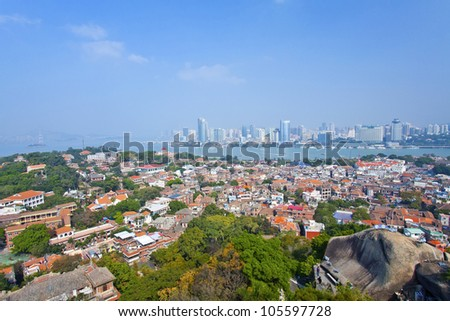 Xiamen view from Gulang-yu island, China - stock photo