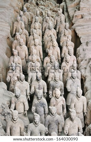 XIAN-APRIL 9. Terracotta Army. It is a collection of sculptures (8,000 soldiers) buried with the first Chinese Emperor Qin Shi Huang 210-??209 BC to protect him in his afterlife. Xian, April 9, 2006. - stock photo