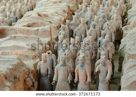 Xian,China - April 06th, 2009:The ancient Terracotta Army of Qin Shi Huang near the city of Xian in Shanxi province in China.