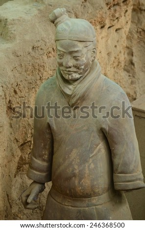 XIAN, CHINA, AUGUST 25, 2013: Detailed view of the famous terracotta army near china in china.