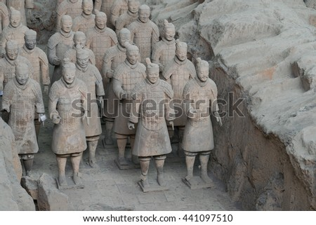 Xian,China - 12 December 2015 - Qin's terracotta warrior, Qin's tomb