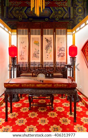 XIAN, CHINA - MAR 29, 2016: Interior of the  Drum Tower of Xi'an is one of the symbols of the city. It was erected in 1380 during the early Ming Dynasty