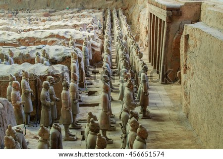 XIAN, CHINA - MAY 2016 - Clay Soldiers stand ready for battle in pit number 1 at the museum of Qin Terracotta Warriors and Horses, Xian, China.
