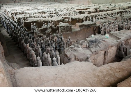 XIAN, CHINA - MAY 3, 2012: Collection of terracotta sculptures depicting the armies of the first emperor of China - stock photo