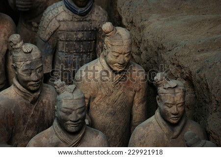"XIAN,CHINA - MAY 27 :The Terracotta Army or the ""Terra Cotta Warriors and Horses"" buried in the pits next to the Qin Shi Huang's tomb in 210-209 BC. May 27, 2010 in Xian of Shaanxi Province, China.  - stock photo"