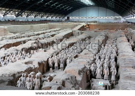 XIAN, CHINA-- OCTOBER 14, 2013: Qin dynasty Terracotta Army, Xian (Sian), China - stock photo