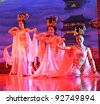XIAN - NOVEMBER 23: Dancers of the Xian Dance Troupe perform the famous Tang Dynasty show at the Xian Theater on November 23, 2011, in Xian, China. - stock photo