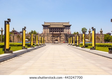 XIAN, SHANXI/CHINA-MAY 16:  South gate towe scenery  on May 16, 2016 in Xian, Shanxi, China. The Xian is a city of famous tourist destination in China. - stock photo