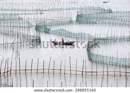 XIAPU, CHINA - JUNE 4, 2015: A farm worker rows out to inspect the nets of a large crab farm in the sea. Aquaculture is an important economy in the eastern coast seaside towns in Xiapu County. - stock photo