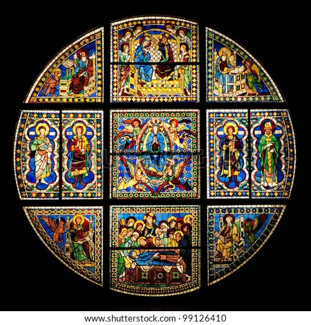 XIII century stained-glass window in Siena Cathedral (duomo - toscana - italy) - stock photo