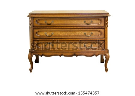 XIX century antique dresser made from oak wood isolated on white.