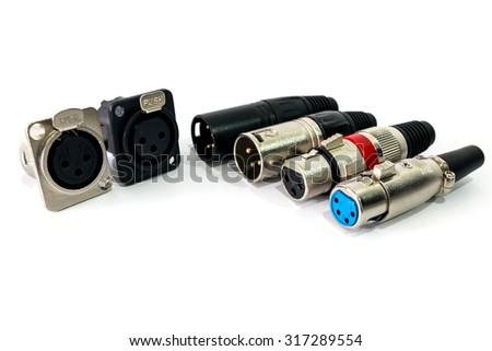 XLR connector isolated on white background. - stock photo