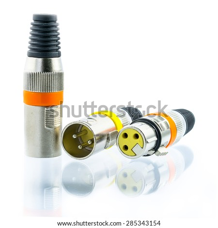 XLR jack with male and female plug on white background. - stock photo