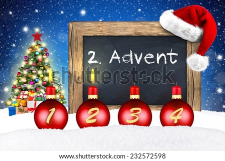 xmas advent background with chalkboard in snow - stock photo