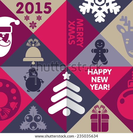 Xmas and New Year greeting card or banner - stock photo