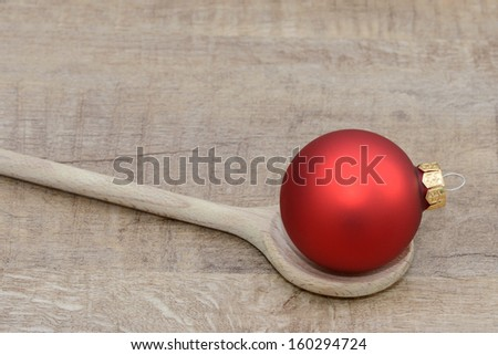 Xmas and wooden spoon - stock photo