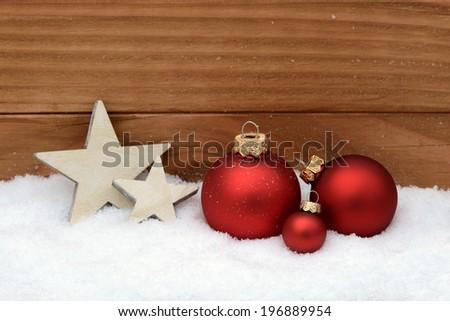 Xmas balls and star - stock photo