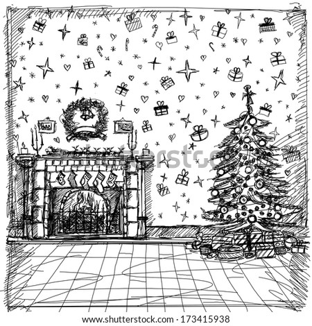 Xmas concept. Sketch background with Christmas - stock photo