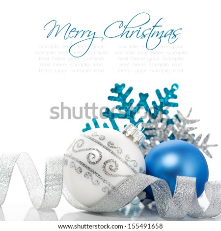 Xmas decoration on white background with space for text - stock photo