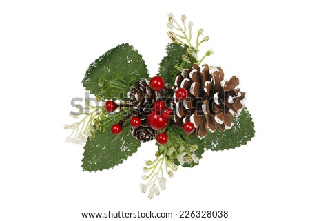 xmas decoration with pine cone and mistletoe  - stock photo