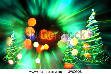 xmas forest as very nice christmas background from color lights - stock photo