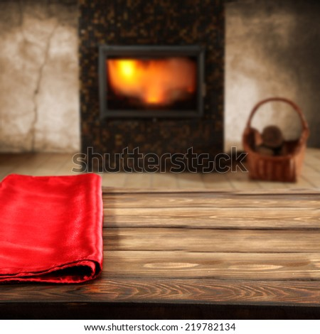xmas napkin and fireplace