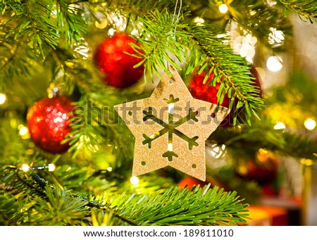 Xmas Ornament in a real Christmas tree in bright color - stock photo