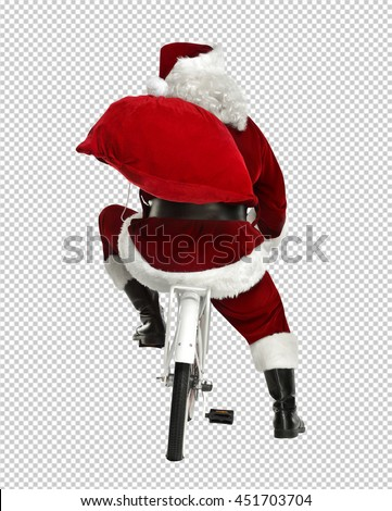 xmas photo with saved path of santa claus on bike of white color with red big sack  - stock photo