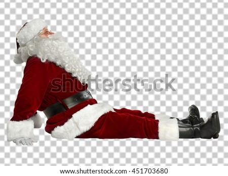 xmas photo with saved path of santa claus on floor and free space  - stock photo