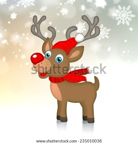 xmas reindeer with red scarf and cap on delicate snowflakes background - stock photo