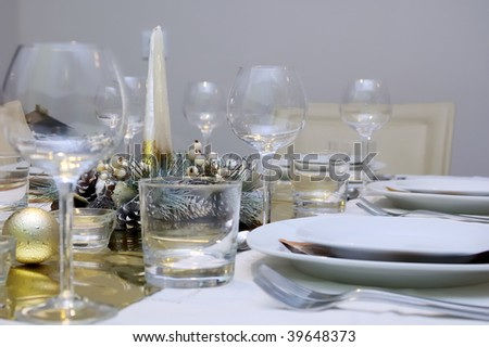 Xmas table setting - stock photo