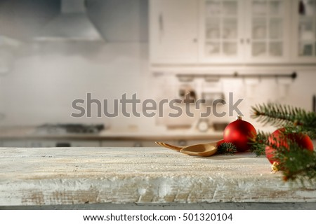 xmas time and wooden desk space in kitchen