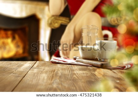 xmas time and wooden table place for your decoration and xmas tree