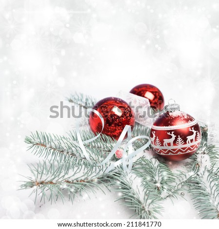 Xmas tree, decorated branches on snow, copy space  - stock photo