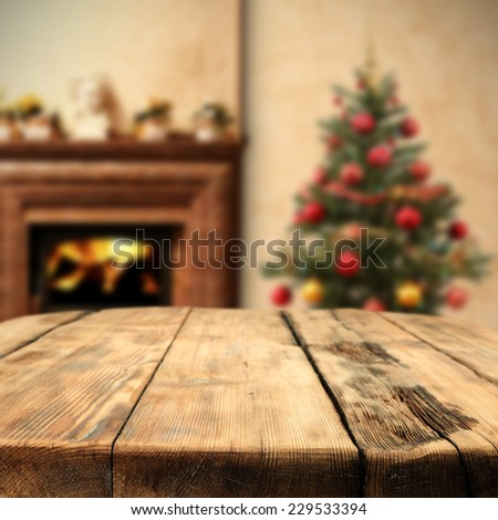 xmas tree space and wooden table of retro chic  - stock photo