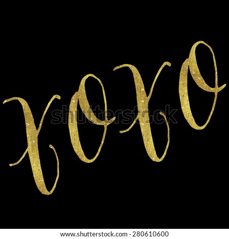 XOXO Love Gold Faux Foil Metallic Glitter Inspirational Hugs and Kisses Quote Isolated on Black Background - stock photo