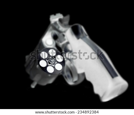Xray scan detects weapon in criminals briefcase. - stock photo
