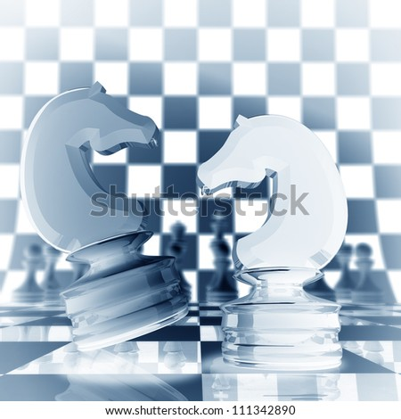 Xrey chess horse background  3d illustration. high resolution - stock photo